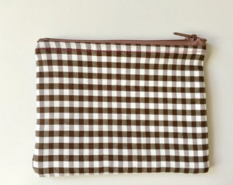 Brown and white gingham lined denim purse with pink stitching