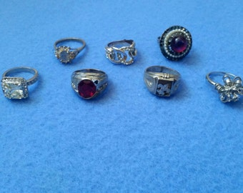 Rhinestone Repair Lot of 7 Rings, vintage and modern assortment, signed and unsigned, no. 1