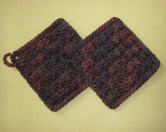 Two Bumpy Cotton Washcloths, handmade crochet washcloth dishcloth set - variegated shades of brown, Terra Firma
