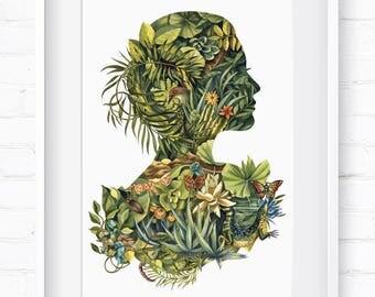Fauna & Flora, Cameo, Print, Home Decor, Wall Art, Art Print, Wall Decor, Giclée Print, Animal Print, Fauna, Flora, Home Decor, Pretty Lady