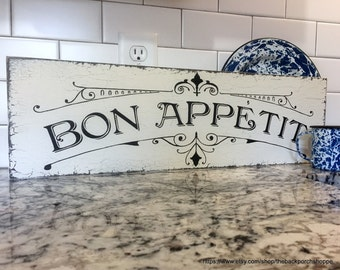 BON APPETIT, French Signs, Kitchen Signs, Bon Appetit Signs, Home Decor, 7 x 24