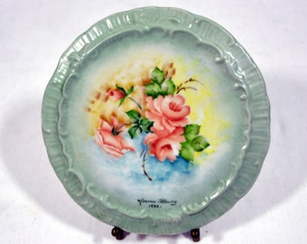 Vintage China Painted Trivet signed Norma Allway 1982 with Janis Brass Plate Holder - Hand Painted in the 1980s on an Antique Trivet