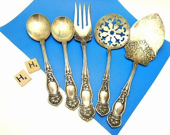 Five Piece Antique Rogers & Sons AA Grade Silver Plate  WM106