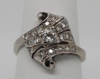 14K Scroll White Gold and Diamond Ring circa 1950's