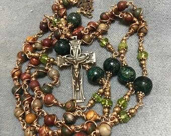 Unbreakable Multi-earthtone Jasper and Peridot in Bronze, Wire-wrapped HeartFelt Rosaries j