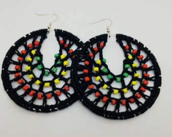 Crochet earrings, Beaded, silver, bohemian jewelry, crochet hoops, beaded earrings, crochet jewelry, hoop earrings, boho chic, african, red