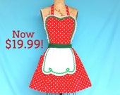 Christmas apron, retro Christmas apron, Red  Polka Dot apron, full apron,  holiday hostess apron,  Santas helper apron or elf costume