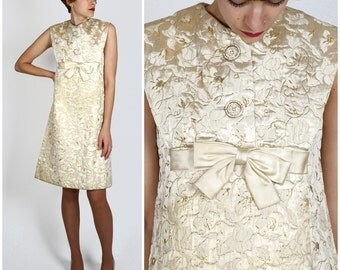 Vintage 1960s Sleeveless Mod Champagne Gold Floral Brocade Babydoll Shift Dress by Bob Bugnand for Sam Friedlander | Small/Medium