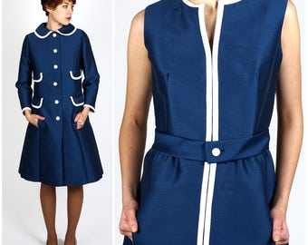 Vintage 1950s Mod Blue & White Silk Wool Dress and Matching Jacket w/ Peter Pan Collar and Four Faux Pockets by Sandra Sage | Small/Medium