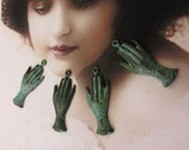 Verdigris Patina Victorian Style Hands Brass Charms 458VER x4