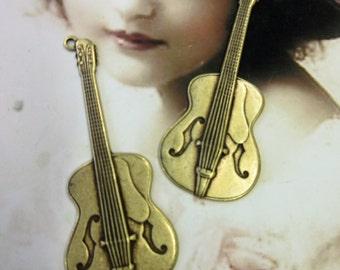 Brass Ox Plated Brass Guitar Charms 1143BOX x2