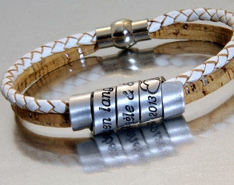 Cork & Leather Personalized Bracelet,  aluminum scroll custom engraved bracelet, womens personalized bracelet, Long Distance Friendship