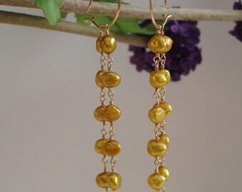 Freshwater Pearl In 14K Gold Filled Earrings Wedding Jewelry.