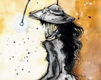 8x12 ink painting  - Angler woman - monster drawing - ver 2
