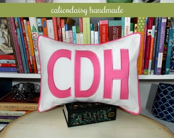 FILL'ER UP Large Applique Monogram Pillow Cover - 12 x 16