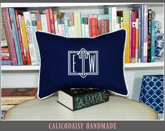 Ambrose Framed Monogrammed Pillow Cover - Lumbar Size 12 x 16