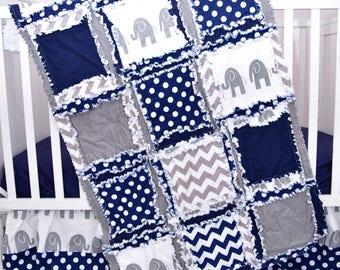 Elephant Baby Boy Crib Bedding - Gray / Navy - Elephant Baby Quilts Bedding for Boys - Crib Size Rag Quilt - Gray Chevron Quilt