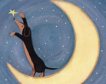 Black and tan dachshund (doxie) reaching for the stars / Lynch signed  folk art print weiner wiener dog