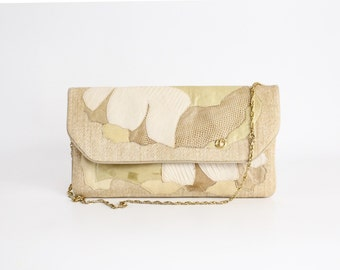 Vintage 1970s Carlo Fiori Leather Clutch | Leather Patchwork Handbag | Large Woven Fiber and Leather Purse