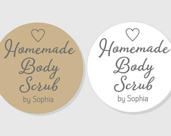 Homemade Body Scrub Personalized Stickers - 1.5 inch - 2 inch - 2.5 inch - 3 inch - Bridal Shower - favor gift bag - gift - mason jar