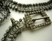 "Vintage Rhinestone Belt - Prong Set Date Unknown but Old & Lovely - TLC Jewel Encrusted Buckle - 39"" Long"