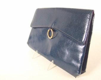 Vintage Envelope Clutch Purse, Blue Faux Snakeskin 1980's Shoulder Bag