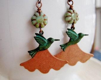 Ginkgo Leaf Earrings, Patina Hummingbird, Copper Ginkgo, Bohemian Earrings, Nature, Woodland Jewelry, Gardendiva