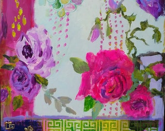 Pink, purple,expressionism, turquoise, red, pink, kantha