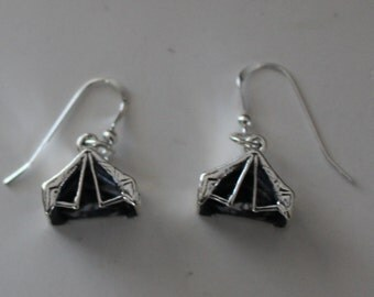 Sterling Silver TENT Earrings - Camping, Scouts - 3 Dimensional
