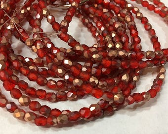Red with Copper Matte Czech Glass Firepolished Crystal Beads 4mm