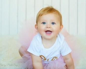 Pink and Gold 1st Birthday Outfit, Cake Smash Outfit, First Birthday Outfit, 1st Birthday Tutu, First Birthday Tutu, Tulle Skirt, SEWN Tutu