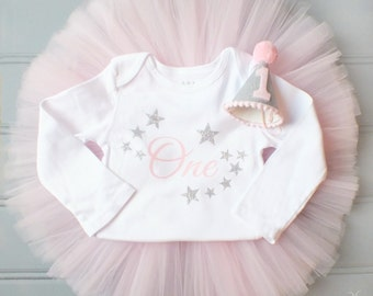 Twinkle Twinkle Little Star 1st Birthday Outfit, Cake Smash Outfit, Pink and Silver First Birthday Outfit Girl, 1st Birthday Tutu Skirt Set