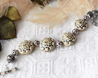 Sale.....One of a Kind Sterling Silver, Ceramic, and Lampwork Glass Bracelet