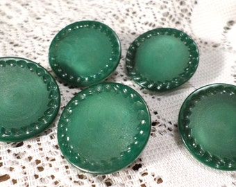 5 Fancy Green Glass Vintage Buttons