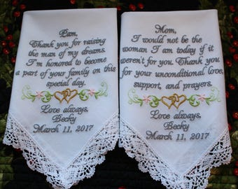 Two (2) Embroidered Wedding Handkerchiefs for Mother of the Bride and Mother of the Groom, Custom Wedding Handkerchiefs. Hankies, Hankys