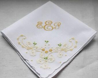 Momgrammed Floral Bouquet Wedding Handkerchief