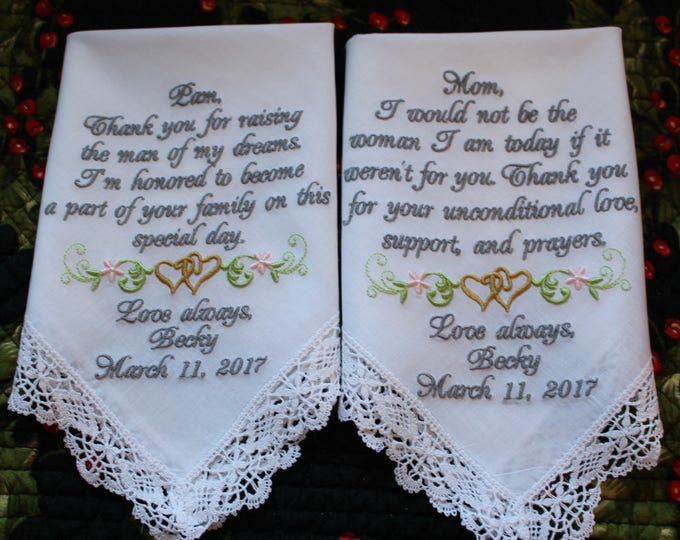 Cluny Lace Mother of the Bride and Groom Wedding Handkerchief Set