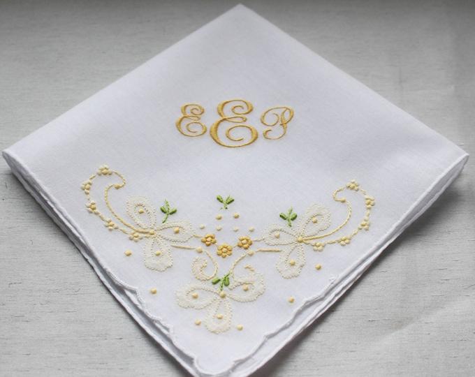 Custom Monogrammed Wedding Handkerchief, Personalized Handkerchiefs, Embroidered, Bridal Handkerchiefs, Mother of Bride, Mother of Groom