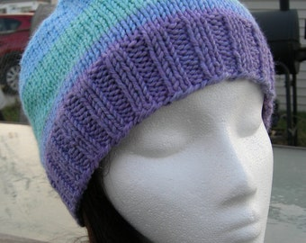 Soft Beanie hand knit hand dyed luxury yarn winter lavender blue green hat slouchy beanie colorful