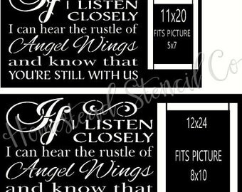 PRIMITIVE STENCIL - 7516 J - If I listen closely I can hear the rustle of Angel Wings picture frame - Clear 5Mil Mylar -Make Your Own Sign