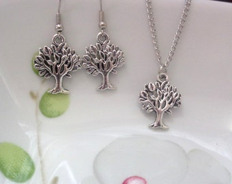 Tree of life Necklace Set Tree of life necklace Tree of life jewelry ,Branch Necklace, Lariat Necklace Tree of life Earrings