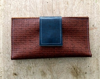 Vegan Leather Swatch Wallet (long), Checkbook Cover, iPhone Case, Card Holder, handmade in Maine