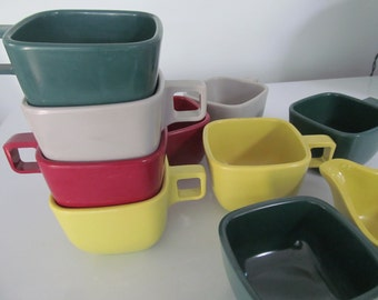 8 Vintage Arrowhead Melmac Coffee Cups Mugs and Creamer and Sugar Bowl - Wine Chartreuse Gray Forest Green