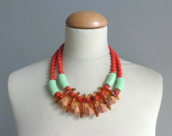 orange green bib necklace, colourful chunky necklace, modern tribal necklace