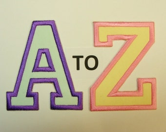 Collegiate Capital Letters 3 or 4  Inch Embroidered Appliques- Choose your Letter, number, Height and colors