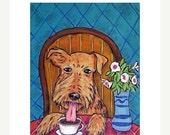 30 Off Airedale Terrier at the Coffee Shop Dog art Print  JSCHMETZ modern abstract FOLK pop art american ART