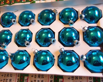 vintage box of turquoise glass ornaments