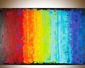 Rainbow color art large wall art original artwork wall decor canvas art red yellow orange green blue purple painting on canvas byqiqigallery