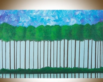 """wall art Turquoise blue green painting on canvas Original oil Landscape Painting""""Stand Tall"""" by QIQIGALLERY"""