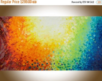 """Extra Large wall art 60""""Colourful abstract art red yellow orange blue green purple original art home decor art """"Warm autumn""""by QiQiGallery"""
